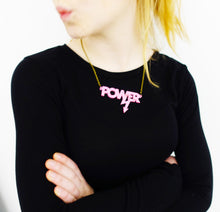 Load image into Gallery viewer, model wears pink mirror Mary Beard power necklace