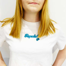 Load image into Gallery viewer, Model wears teal frost Repealed the 8th necklace with teal mirror 8th