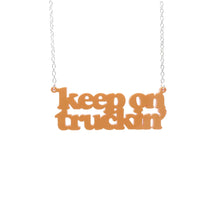 Load image into Gallery viewer, orange sherbet Keep on Truckin' necklace hanging