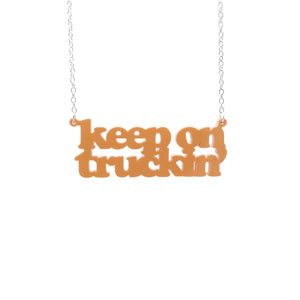 orange sherbet Keep on Truckin' necklace hanging