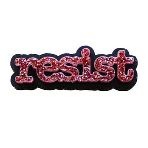 rose pink glitter typewriter font resist brooch