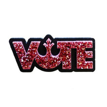 Load image into Gallery viewer, rose pink glitter Star Wars rebel alliance vote brooch