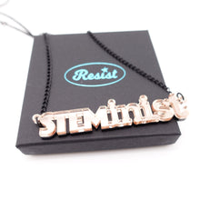 Load image into Gallery viewer, rose gold mirror STEMinist necklace on box
