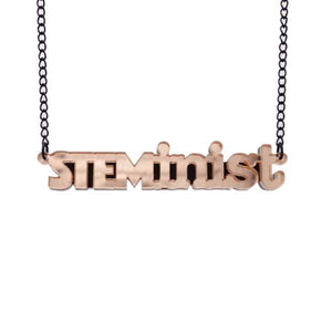 rose gold mirror STEMinist necklace hanging shot