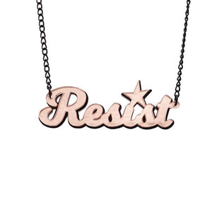 pink champagne mirror two tone resist necklace