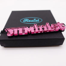 Load image into Gallery viewer, pink mirror STEMinist necklace on box