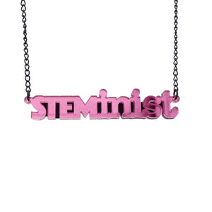 pink mirror STEMinist necklace hanging shot