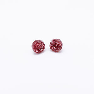 rose pink glitter dot earrings