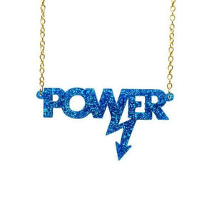 blue glitter Mary Beard power necklace