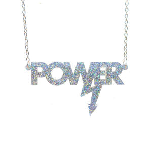 holographic silver glitter Mary Beard power necklace