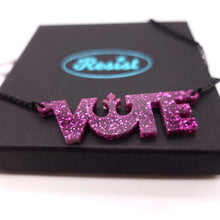 Load image into Gallery viewer, close up of purple glitter  vote necklace