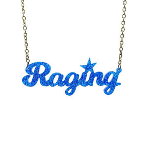 blue glitter raging necklace