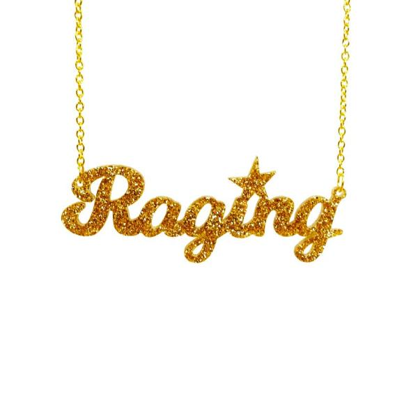 gold glitter raging necklace