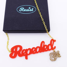 Load image into Gallery viewer, Repealed the 8th chilli frost red necklace with gold 8th shown with box