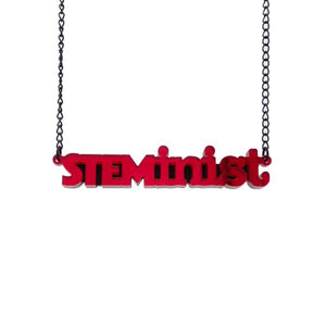 red mirror STEMinist necklace hanging shot