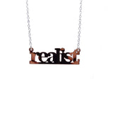 rose gold mirror realist literary necklace