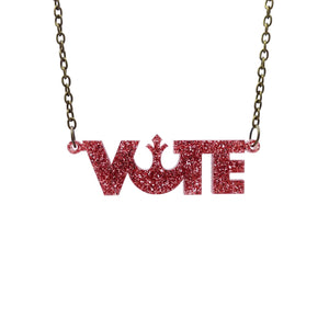 rose glitter  vote necklace hanging