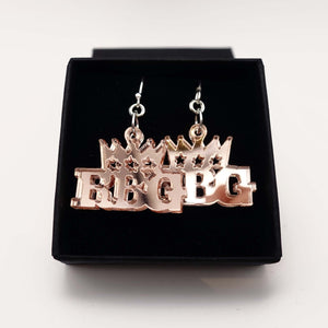 rose gold mirror Notorious RGB earrings in honour Ruth Bader Ginsburg