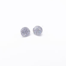 Load image into Gallery viewer, holographic silver dot earrings