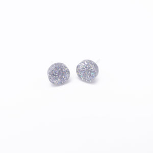holographic silver dot earrings