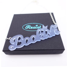 Load image into Gallery viewer, sky frost  bookish necklace on box