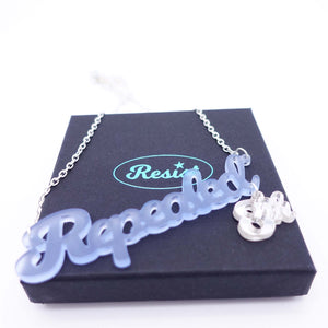 Sky blue Repealed the 8th necklace with silver mirror 8th shown on box