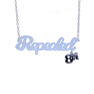 Sky blue frost Repealed the 8th necklace with silver mirror 8th