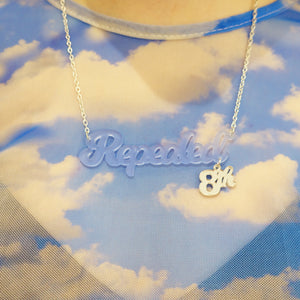 Model wears sky blue frost Repealed the 8th necklace with silver mirror 8th