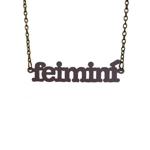 slate frost Irish Gaelic feimini feminist necklace