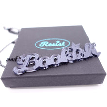 Load image into Gallery viewer, slate mirror bookish necklace on box