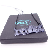 realist literary necklace in slate mirror