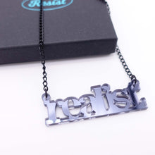 Load image into Gallery viewer, realist literary necklace in slate mirror