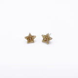 gold glitter small star earrings