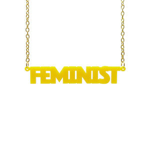 sunflower yellow all caps feminist necklace hanging