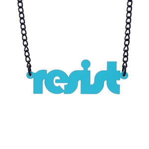 teal frost retro disco resist necklace