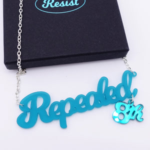 Teal frost Repealed the 8th necklace with teal mirror 8th shown with box