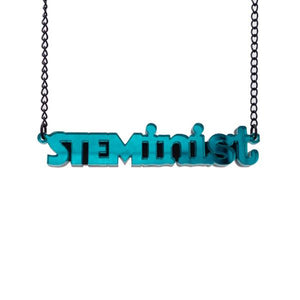 teal mirror STEMinist necklace hanging shot