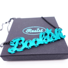 Load image into Gallery viewer, teal mirror  bookish necklace on box