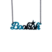 Load image into Gallery viewer, teal mirror bookish necklace