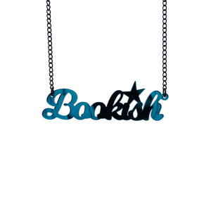teal mirror bookish necklace