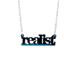 realist literary necklace in teal mirror