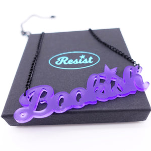 violet frost  bookish necklace on box