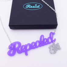 Load image into Gallery viewer, Violet frost Repealed the 8th necklace with holographic silver glitter 8th shown with box