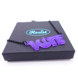 violet frost vote necklace on box