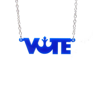 Vote necklace in vote BLUE! colour