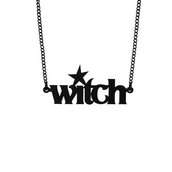 matte black witch necklace