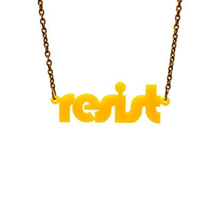 sunflower yellow retro disco resist necklace