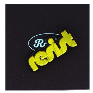 mirror yellow retro disco resist brooch