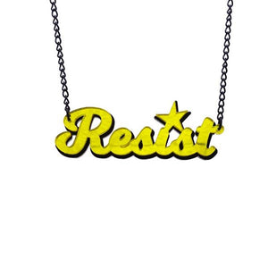 yellow mirror two-tone resist necklace