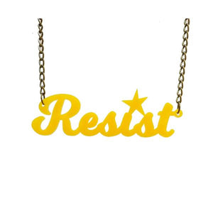 sunflower yellow script resist necklace